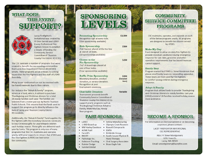Brochure For Lacey Firefighters Charity Golf Tournament, Used To Promote  Participation And To Help Secure Sponsorships.