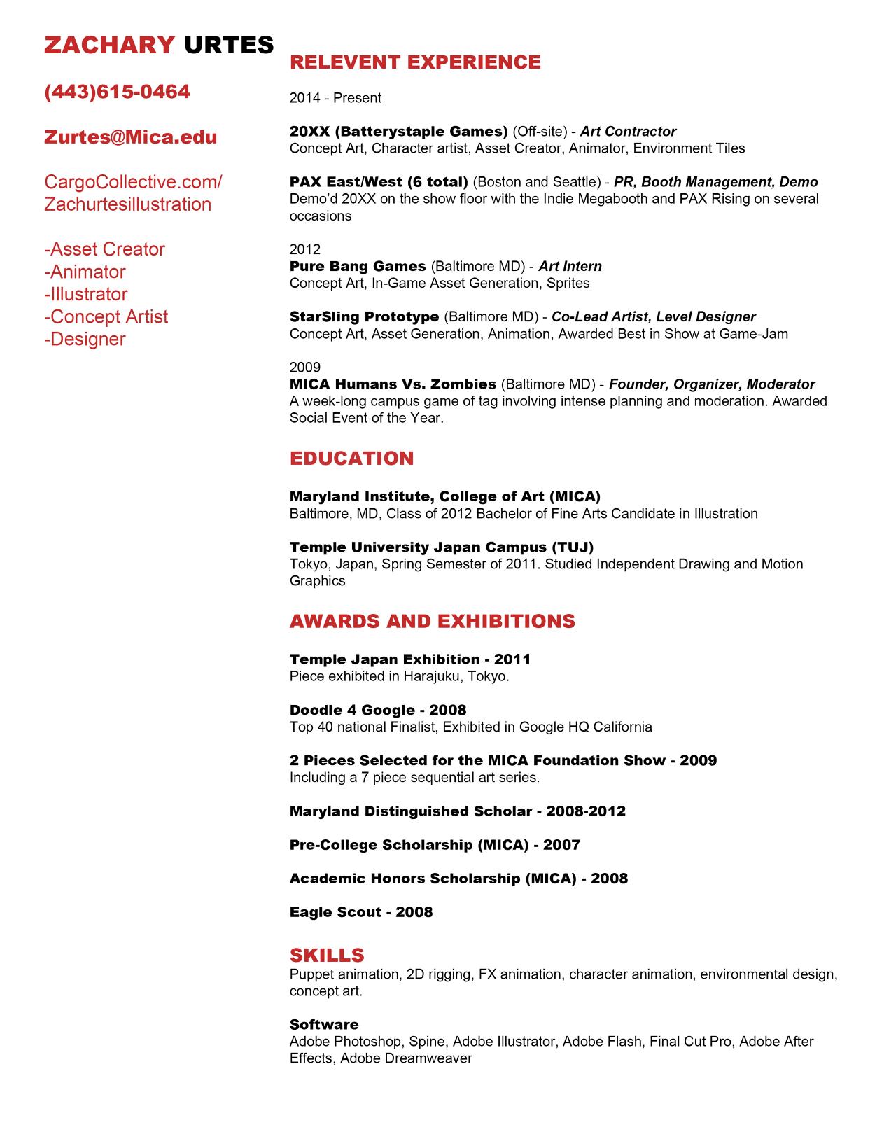 my resume zach urtes illustration